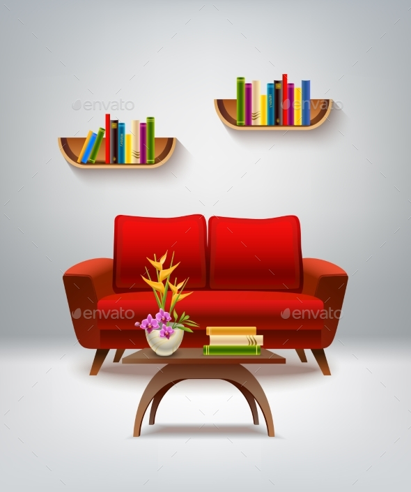 Living Room Interior Illustration - Man-made Objects Objects