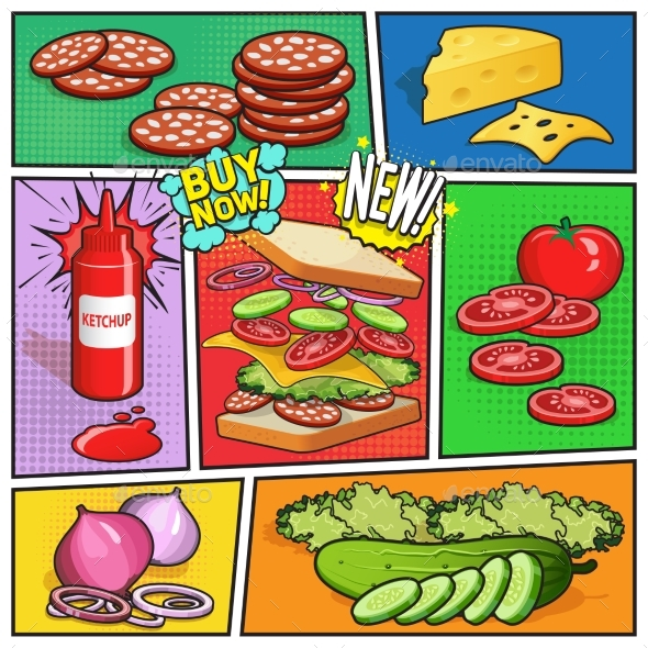 Sandwich Advertising Comic Page - Food Objects