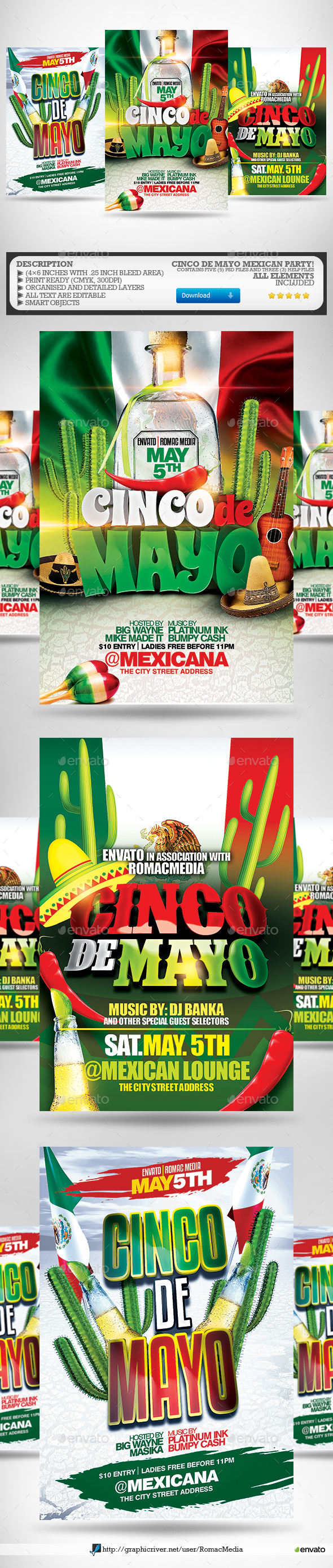 Cinco De Mayo Party Flyer Bundle - Clubs & Parties Events