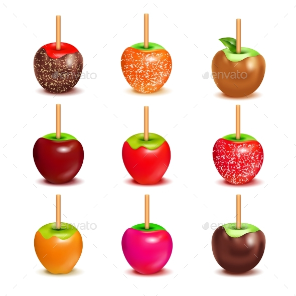 Toffee Candy Apples Assortment Set - Food Objects