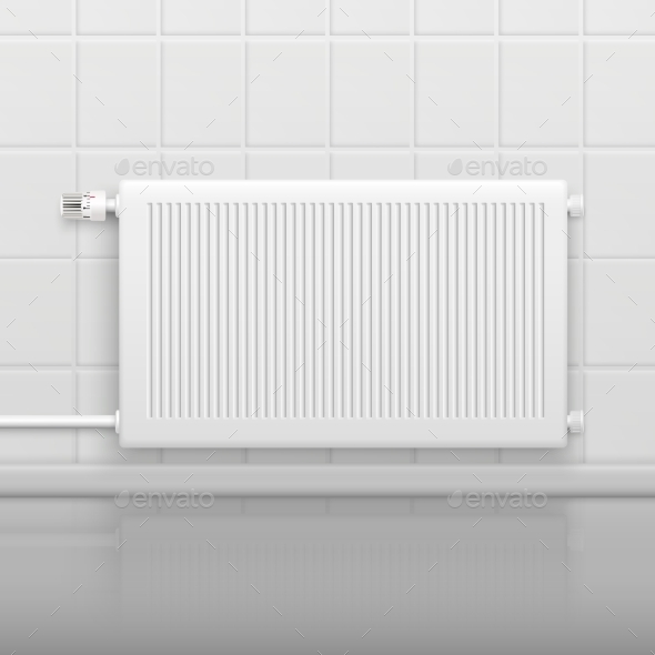 Hot Water Radiator Realistic Image - Man-made Objects Objects