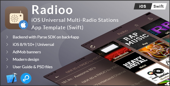 Radioo | iOS Universal Multi-Radio Stations App Template (Swift) - CodeCanyon Item for Sale