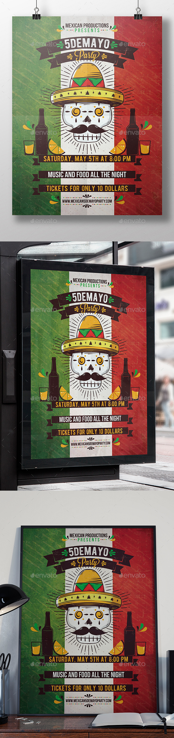 Mexican Calaca Flyer Template - Clubs & Parties Events