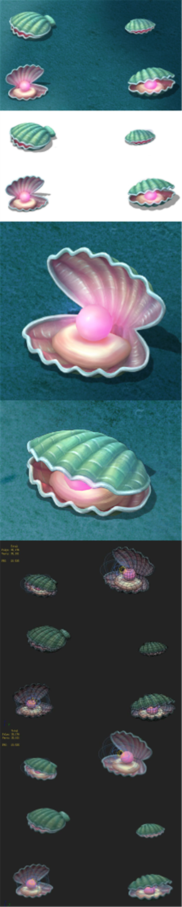 Submarine cartoon world - watermelon pearl shells - 3DOcean Item for Sale