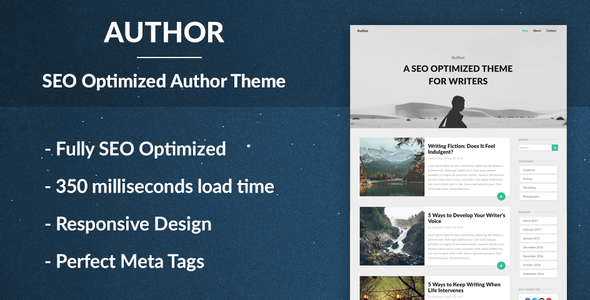 Author – Responsive SEO Optimised WordPress Theme for Bloggers and Journalists