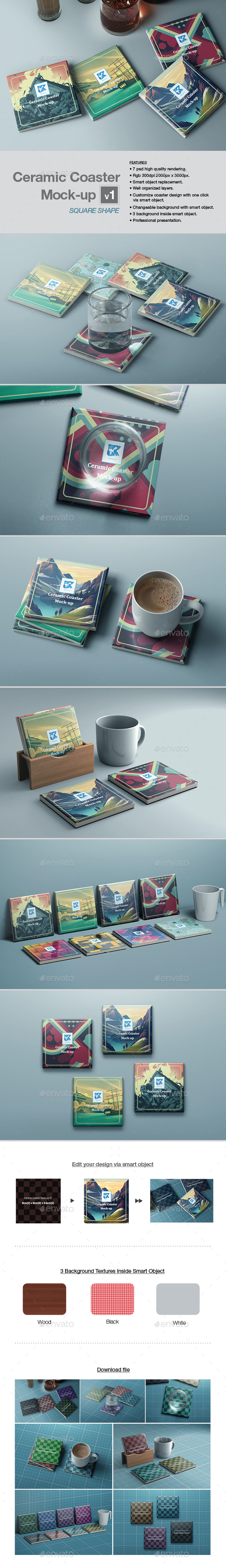 Ceramic Coaster Mock-up v1 - Print Product Mock-Ups