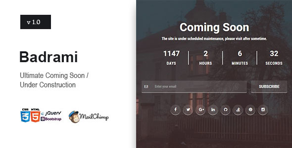 Badrami – Coming Soon One Page Responsive HTML