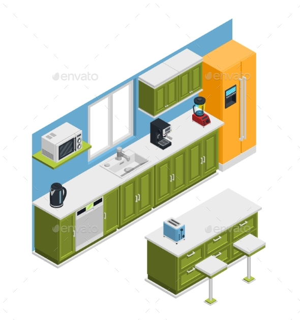 Kitchen Furniture Isometric Composition - Man-made Objects Objects