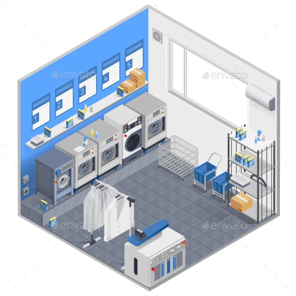 Laundry Isometric Concept - Industries Business