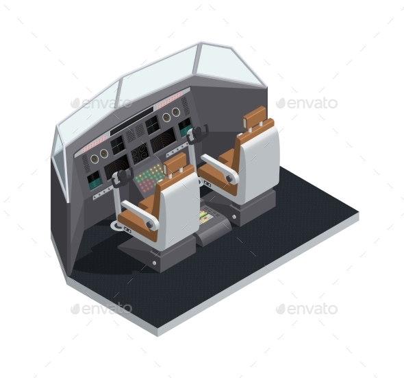 Airplane Interior Isometric Isolated Composition - Man-made Objects Objects