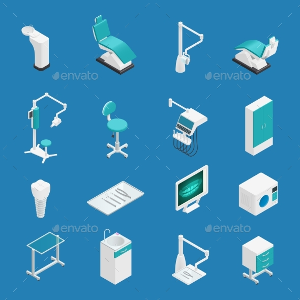 Stomatology Dentistry Isometric Icon Set - Health/Medicine Conceptual