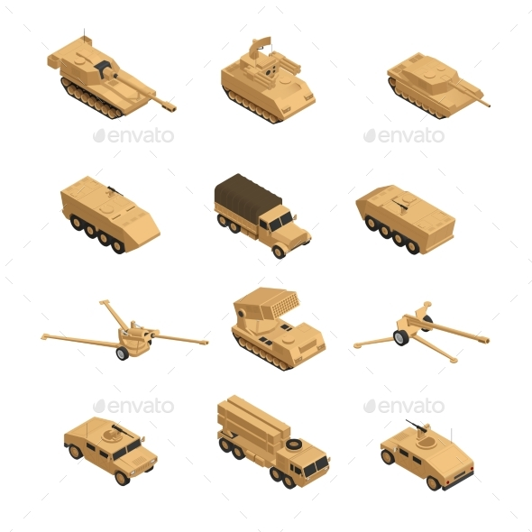 Military Vehicles Isometric Icon Set - Man-made Objects Objects