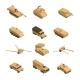 Military Vehicles Isometric Icon Set