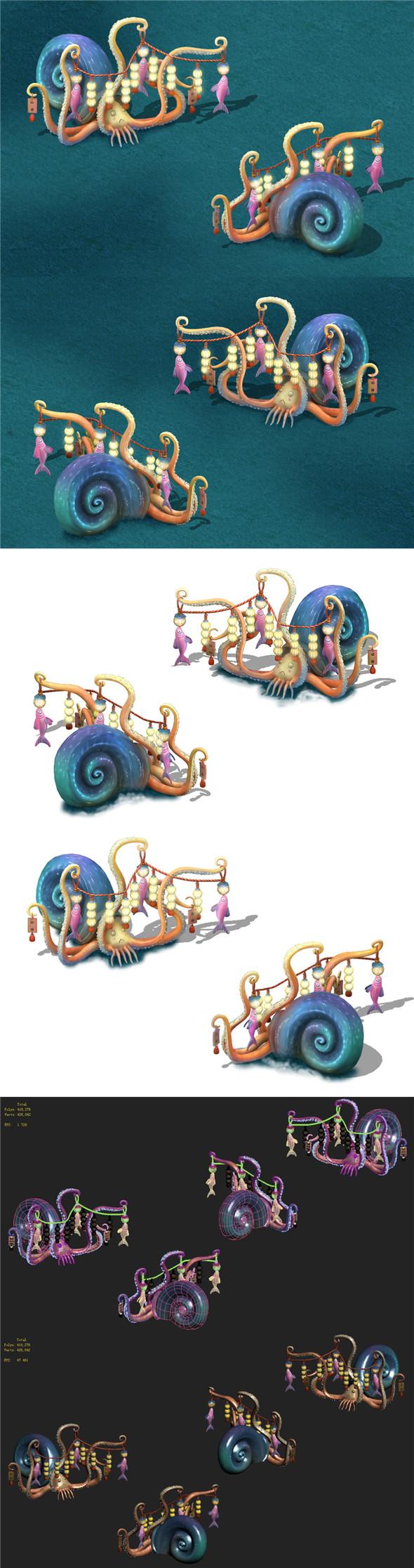 Submarine cartoon world - octopus skewers - 3DOcean Item for Sale
