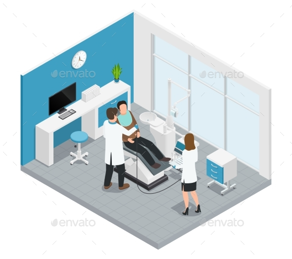 Colored Stomatology Dentistry Isometric - Health/Medicine Conceptual
