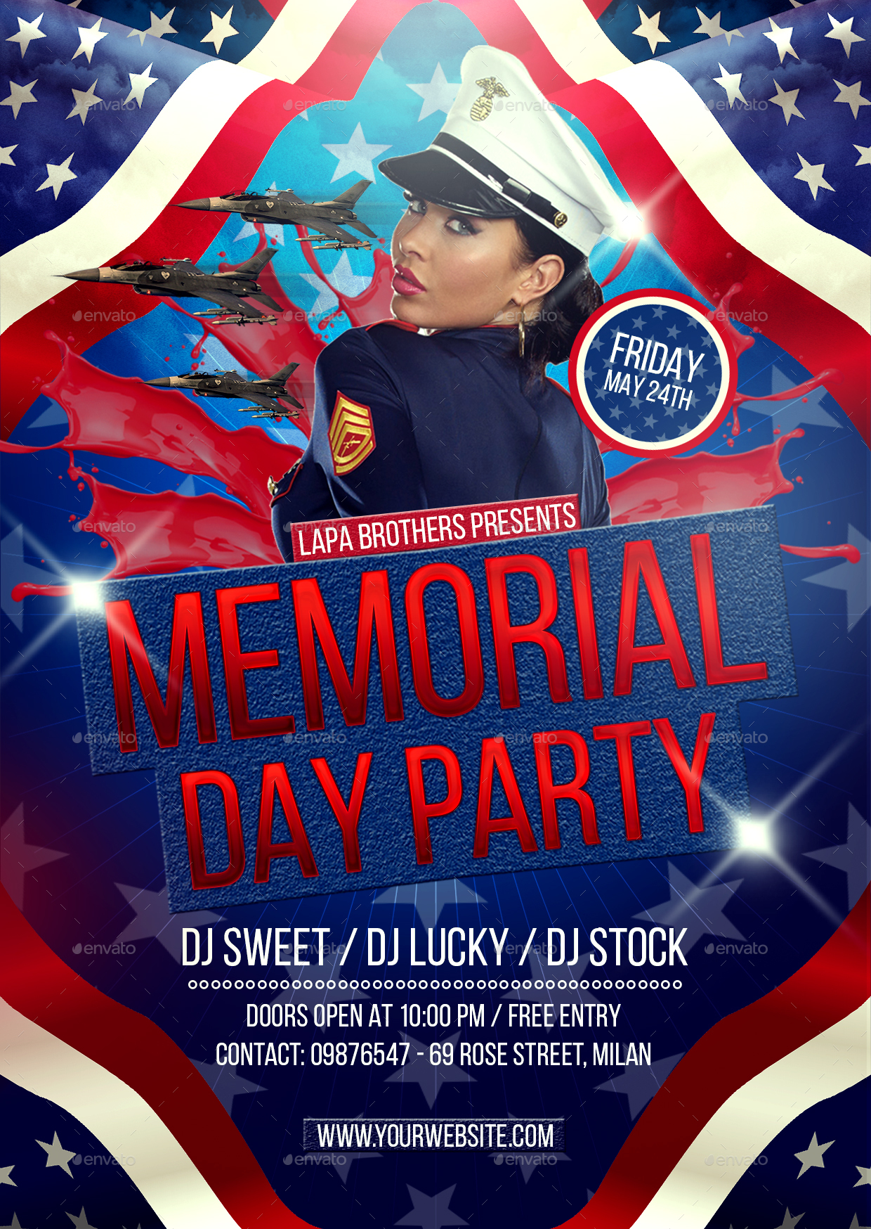 Memorial Day Party Flyer Template by Lapabrothers – Memorial Day Flyer Template