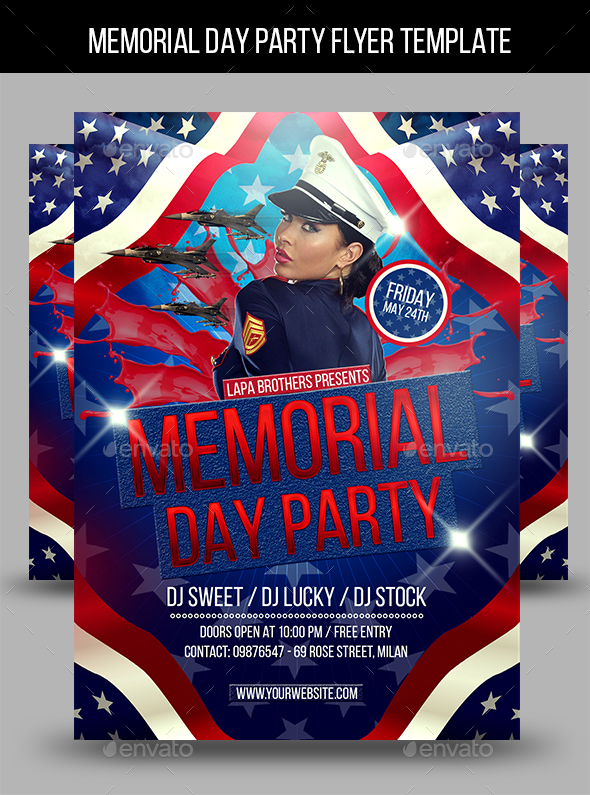 Memorial Day Party Flyer Template By Lapabrothers