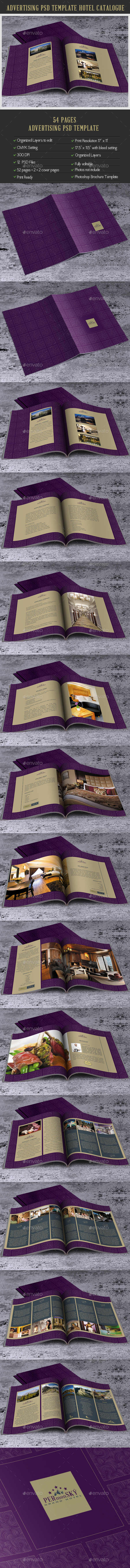 Photoshop Brochure Template for Hotel 52 Pages & Covers Pages. - Brochures Print Templates