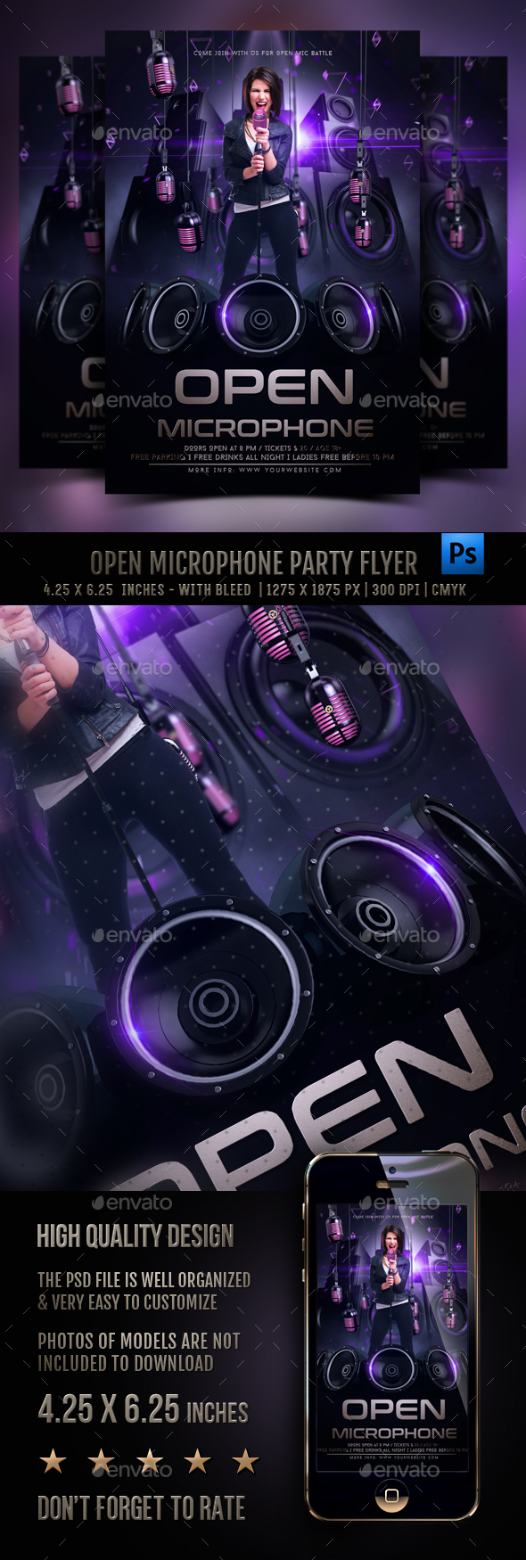 Open Microphone Flyer Template - Clubs & Parties Events