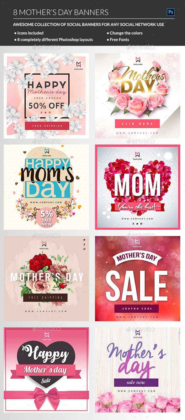 Mothers Day Banner - Banners & Ads Web Elements