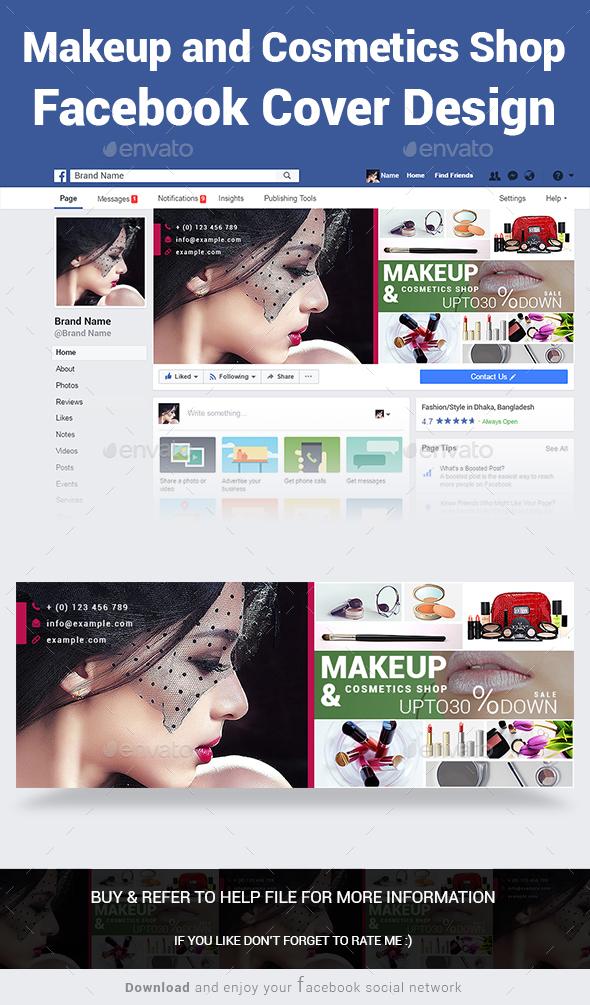Makeup and Cosmetics Shop Facebook Cover Design - Social Media Web Elements
