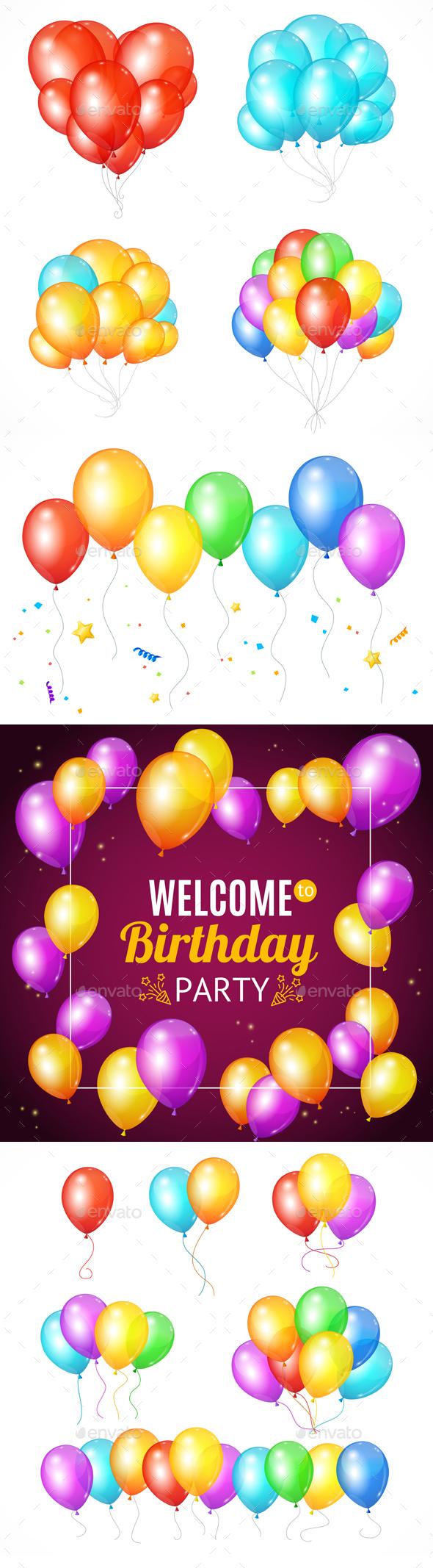 Realistic Balloon Set - Birthdays Seasons/Holidays