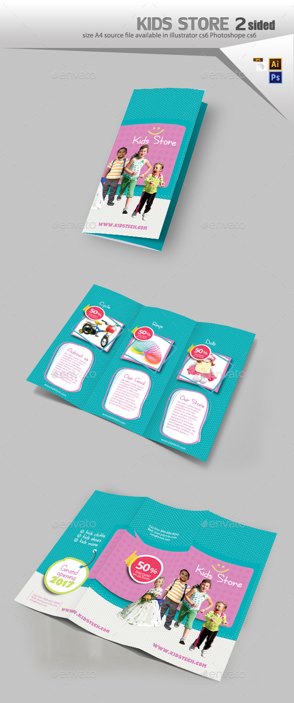 Kids Store TryFold Template - Brochures Print Templates