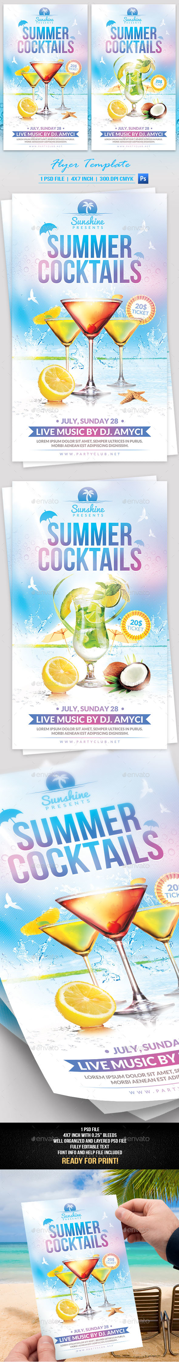 Summer Cocktails Flyer Template - Events Flyers
