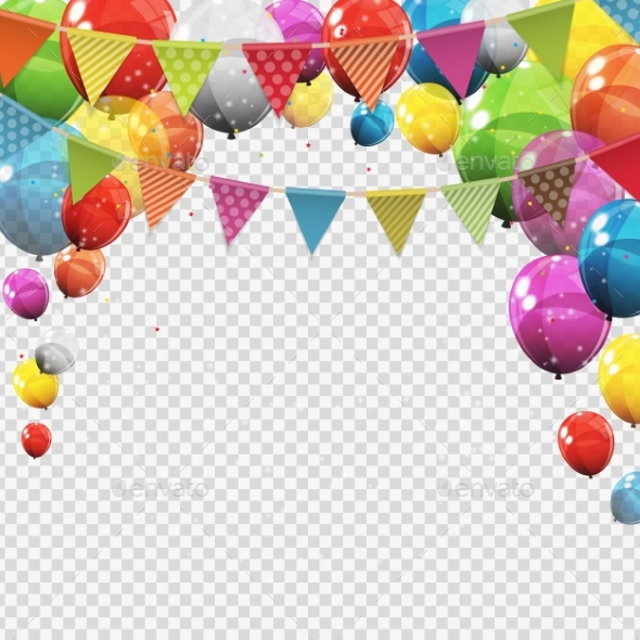 Glossy Helium Balloons with Blank Copy Space - Birthdays Seasons/Holidays