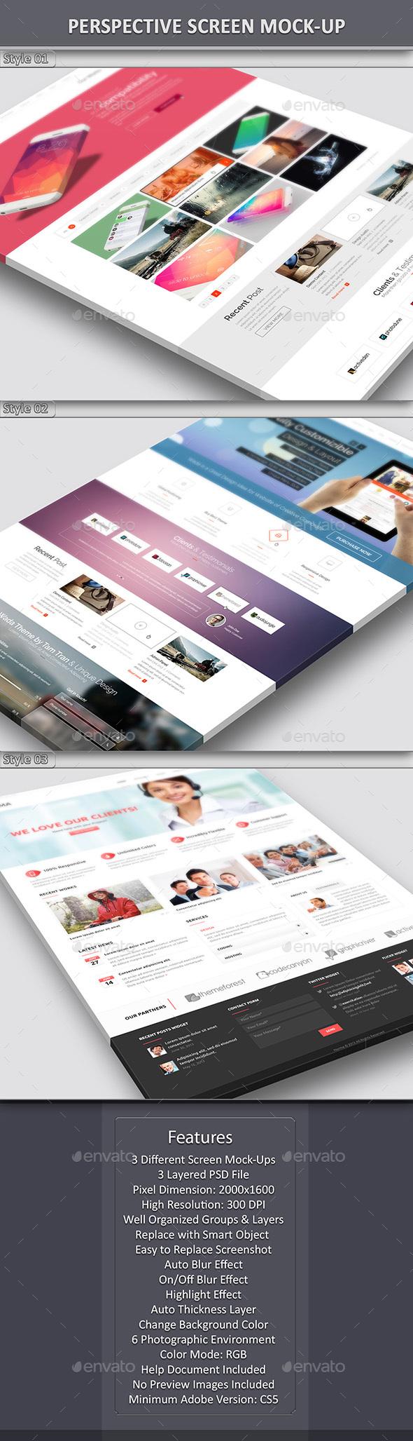 Perspective Screen Mock-Up - Website Displays