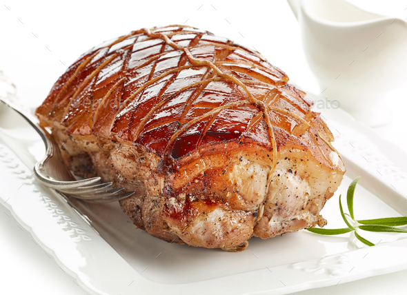 roasted pork on white plate - Stock Photo - Images