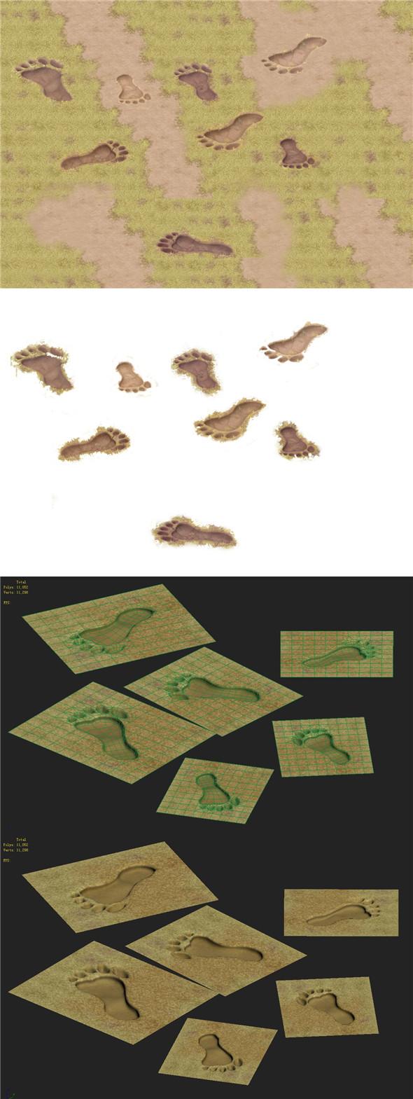 Cartoon version - footprints - 3DOcean Item for Sale