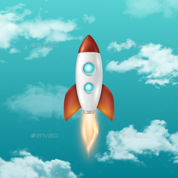 Background with Retro Space Rocket Ship - Travel Conceptual