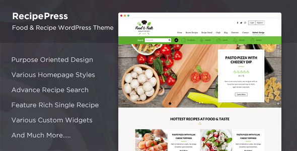 RecipePress - Food & Recipes Premium WordPress Theme