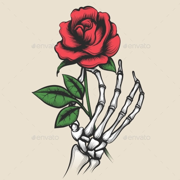Skeleton Hand with Rose Tattoo Style - Flowers & Plants Nature
