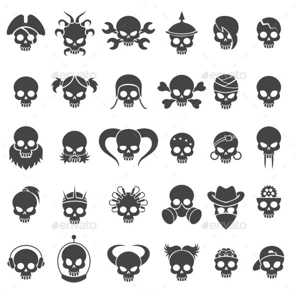 Skull Icons Set - Miscellaneous Vectors