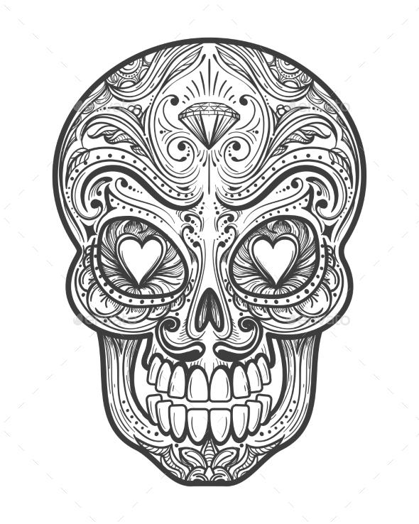Sugar Skull Tattoo Illustration - Miscellaneous Vectors