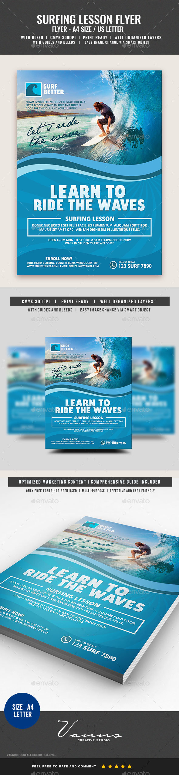 Surfing Lesson Flyer - Commerce Flyers