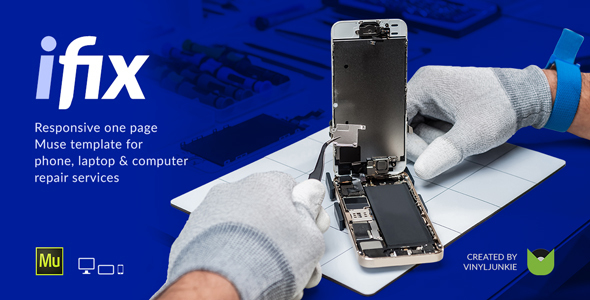 iFix - Phone, Tablet & Electronic Repair Service Responsive Muse Template - Landing Muse Templates