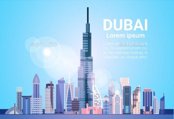 Dubai Skyline Panorama Modern Building Cityscape - Buildings Objects