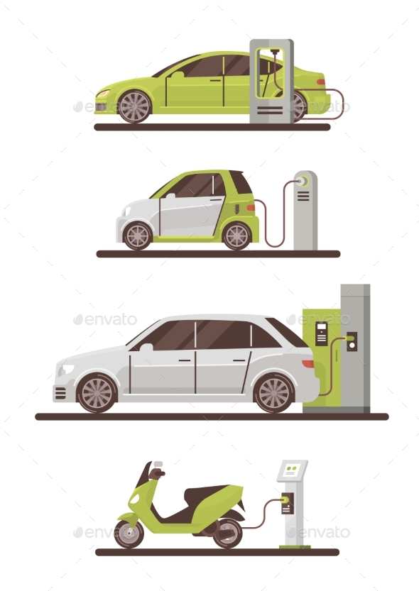 Electrical Cars and Scooters at Charging Station - Man-made Objects Objects