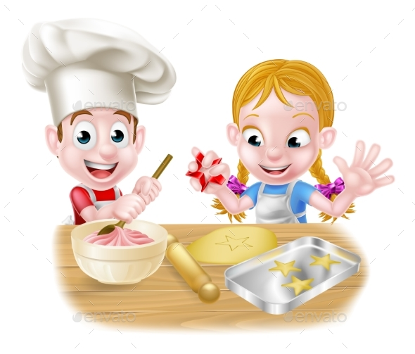 Boy and Girl Baking - Food Objects
