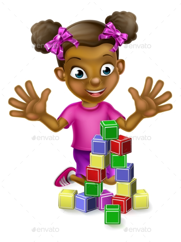 Black Girl Playing with Building Blocks - People Characters