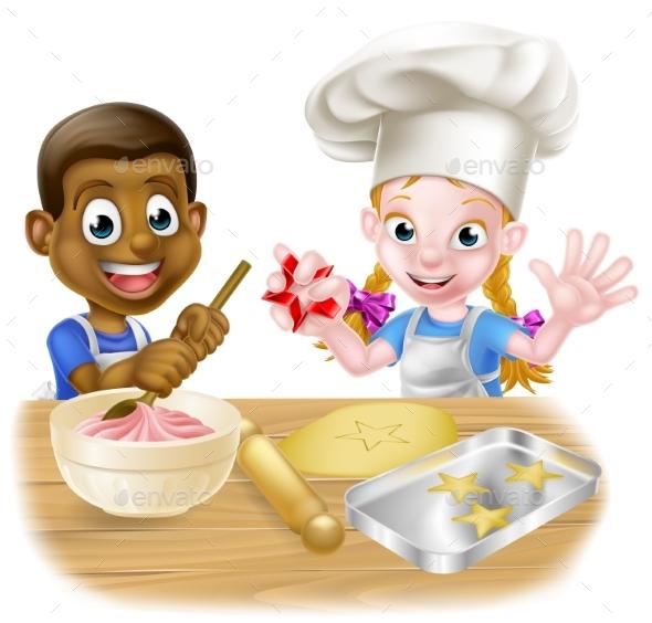 Cartoon Kids Cooking - People Characters