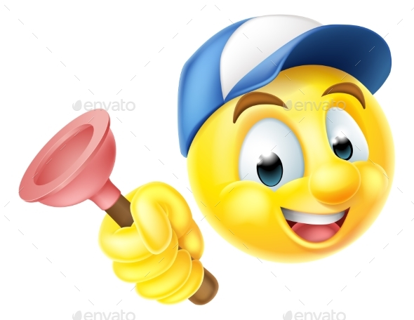 Plumber Emoji Emoticon with Plunger - Miscellaneous Characters