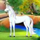 White Unicorn near a Fairy Tale Castle UHD - VideoHive Item for Sale