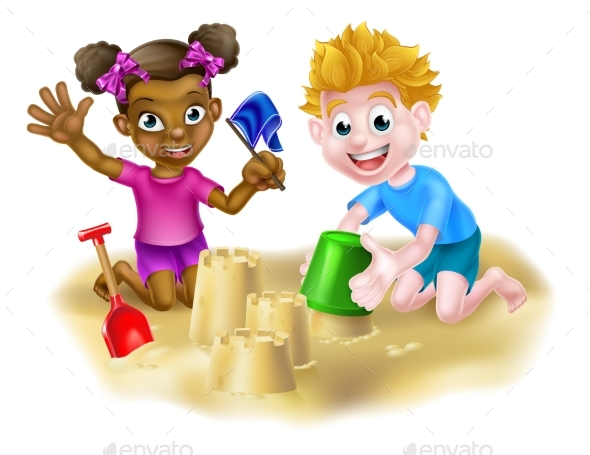 Children Playing in the Sand - People Characters