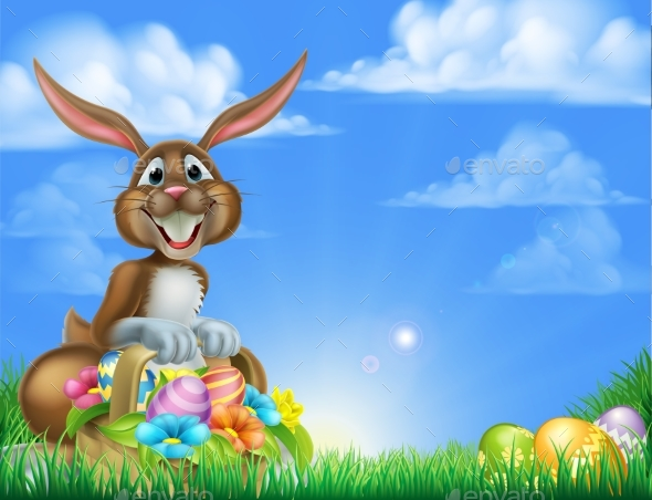 Cartoon Easter Egg Hunt Bunny - Animals Characters
