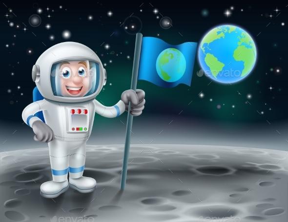 Cartoon Astronaut On the Moon - Travel Conceptual
