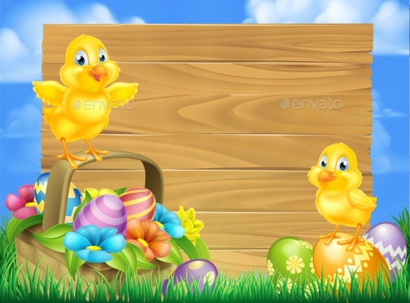 Chicks and Easter Eggs Basket Sign - Miscellaneous Seasons/Holidays